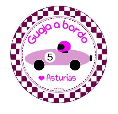 pegatina para el coche personalizada con guaja a bordo para niñas de asturias