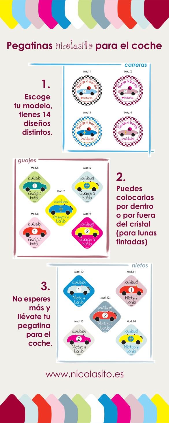 Colección especial infantil personalizada de pegatinas para el coche exclusivo para Asturias con modelos de guaje a bordo en nicolasito.es
