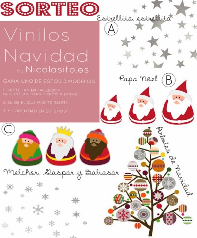 sorteo de 3 vinilos decorativos de navidad nicolasito.es