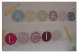 vinilos decorativos infantiles círculos de letras para componer nombres