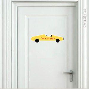 vinilo infantil de coche amarillo decoración puertas niños