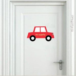 Vinilo de coche antiguo fiat rojo decoración infantil dormitorio