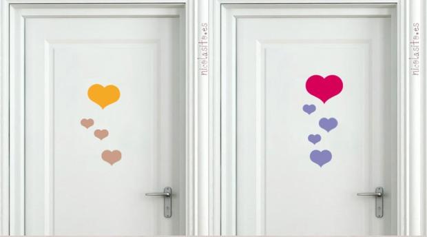 Vinilos de corazones decorativos para decoración de puertas. nicolasito.es