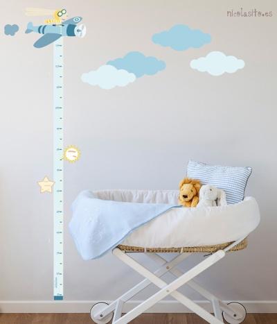 comprar vinilo medidor infantil avión azul
