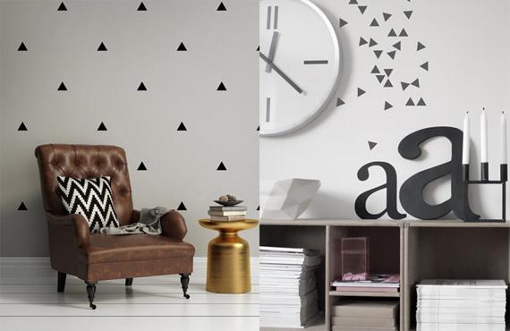 Ideas para decorar con peque os vinilos de tri ngulos - Mezclar colores para pintar paredes ...