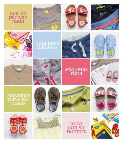etiquetas y pegatinas para marcar las cosas y la ropa